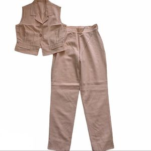 COURRÈGES AND CO. Pink gingham cropped pantsuit